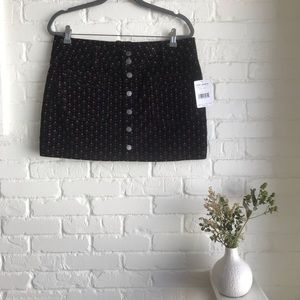 Free people black corduroy printed button up skirt